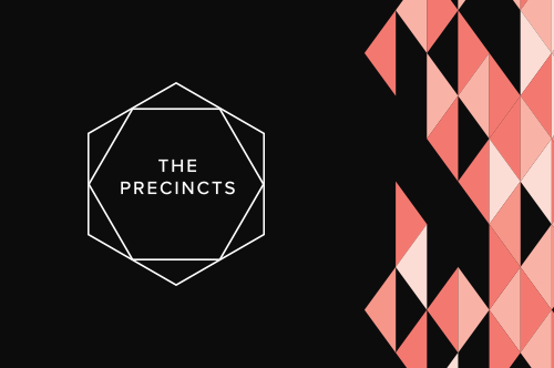 The Precincts logo showing a hexagon with the words, The Precincts, inside.