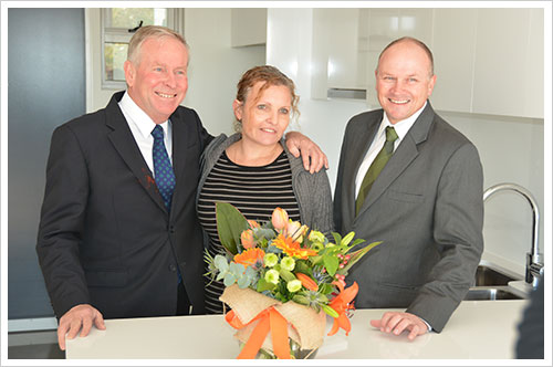Premier Colin Barnett and Housing Minister Colin Holt with Sheree Beven