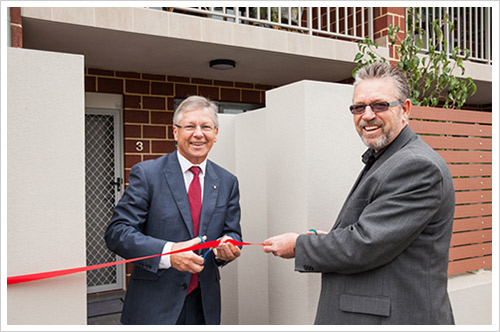 Minister Marmion and Access Housing CEO Garry Ellender officially open the Burley Street units