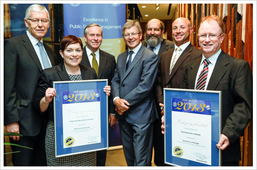 ​​The Department's team celebrating their Premier's Awards success on 6 November (L-R) Peter Lonsdale, Director, Housing Program